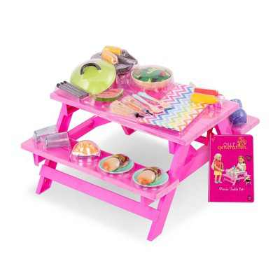 """Our Generation Picnic Table Set with Play Food Accessories for 18"""" Dolls - Pink"""