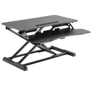 "Monoprice Sit-Stand Riser Workstation Desk Converter - Black (31.5 x 15.7in) Table Top for Single Display, Height Adjustable 4.2""-19.7"" Max"