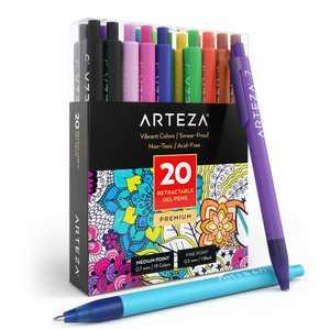Arteza Retractable Gel Ink Colored Pens Set, Assorted Colors, 20 Pack (ARTZ-8412)