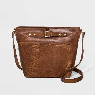 Bolo Zip Closure Embossed Crossbody Bag - Brown