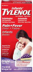 TYLENOL Infants' Tylenol Pain Relief Grape-Flavored Liquid 2 oz (Pack of 2)