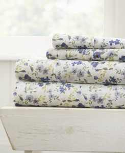 The Farmhouse Chic Premium Ultra Soft Pattern 4 Piece Sheet Set by Home Collection - Queen