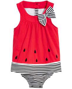Baby Girls Watermelon Cotton Sunsuit, Created for Macy's