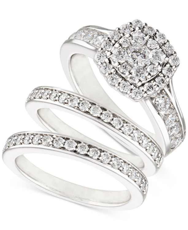 Diamond  Three-Piece Ring Set (2 ct. t.w.) in 14k White, Yellow and Rose Gold