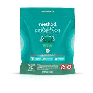 Method Laundry Detergent Packs, Beach Sage, 42 Count