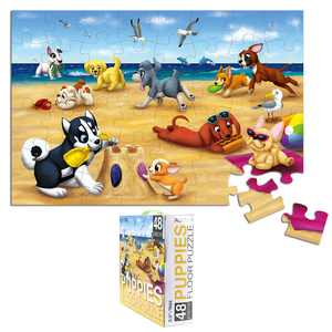 Floor Puzzles for Kids - 48-Piece Giant Floor Puzzle, Puppies on The Beach Jumbo Jigsaw Puzzles for Toddlers Preschool, Toy Puzzles for Kids Ages 3-5, 2 x 3 Feet