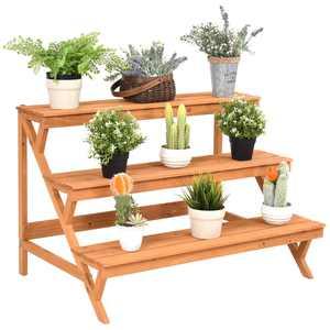 Costway 3 Tier Wood Plant Stand Flower Pot Holder Shelf Display Rack Stand Step Ladder