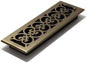 "Decor Grates 4"" x 14"" Steel Plated Antique Brass Scroll Design Floor Register"