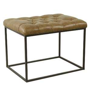 Small Decorative Ottoman Faux Leather Brown - Homepop
