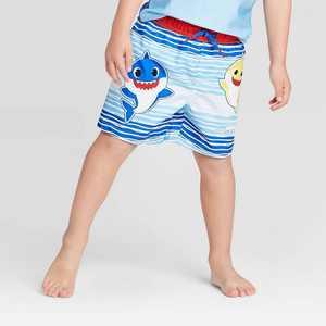 Toddler Boys' Baby Shark Swim Trunks - Blue