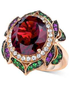 Crazy Collection Garnet (7-5/8 ct. t.w.) and Multi-Stone Round Flower Ring in 14k Rose Gold (Also Available in London Blue Topaz)