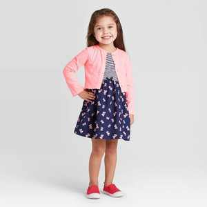 Toddler Girls' 2pc Butterfly Dress & Cardigan Set - Just One You made by carter's Pink/Navy