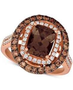 Chocolate Quartz (1-9/10 ct. t.w.), Nude Diamonds (1/3 ct. t.w.) and Chocolate Diamonds (5/8 ct. t.w.) Statement Ring set in 14k Rose Gold
