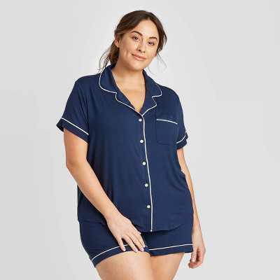 Women's Plus Size Beautifully Soft Short Sleeve Notch Collar and Short Pajama Set - Stars Above™ Navy 2X