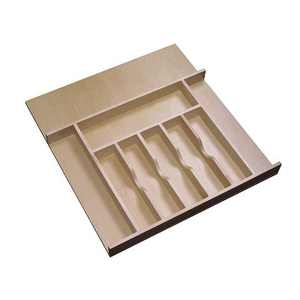 Rev-A-Shelf 4WCT-3SH Short Trim-to-Fit  Wooden Cutlery 9 Compartment Tray Insert Utensil Organizer for Kitchen Cabinet Drawers, Natural Maple