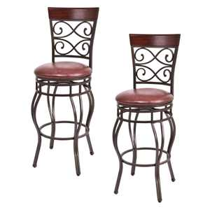 Costway Bar Stool with 360-Degree Swivel, Brown, Set of 2