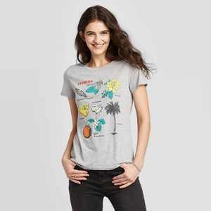 Women's Short Sleeve Crewneck Florida List Graphic T-Shirt - Awake Gray
