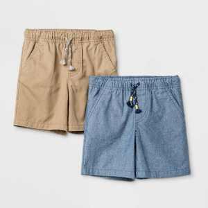 Toddler Boys' 2pk Woven Pull-On Shorts - Cat & Jack Tan/Blue