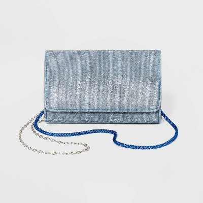 Estee & Lilly Sparkle Shimmer Clutch - Blue