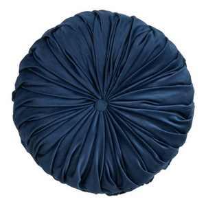 """14"""" Round Velvet Pintucked Poly Filled Throw Pillow Navy - Saro Lifestyle"""