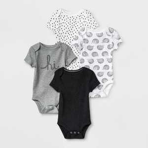 Baby 4pk Short Sleeve Bodysuit - Cloud Island Black/White