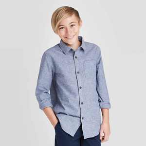 Boys' Long Sleeve Chambray Button-Down Shirt - Cat & Jack Navy