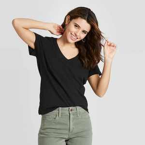 Women's Short Sleeve V-Neck T-Shirt - Universal Thread™ Black S