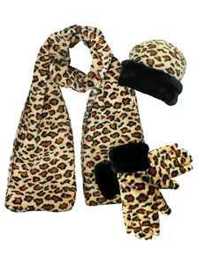 Leopard Print Fleece 3-Piece Hat Scarf & Gloves Matching Winter Set