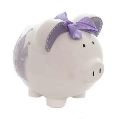 """Bank 7.5"""" Lavendar Fairytail Piggy Bank Castle Save  -  Decorative Banks"""