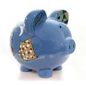 "Bank 7.75"" Camping Piggy Bank Hand Painted  -  Decorative Banks"