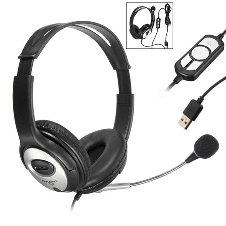 OVLENG Stereo Super Bass Gaming Over-ear Computer Business USB Headset Headphone Headband with Microphone For PC Notebook Noise cancelling Surround Sound Wired