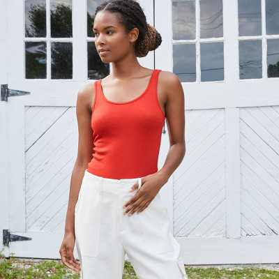 Women's Slim Fit Any Day Rib Tank Top - A New Day
