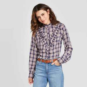 Women's Plaid Ruffle Long Sleeve Henley Button-Down Shirt - Universal Thread Blue