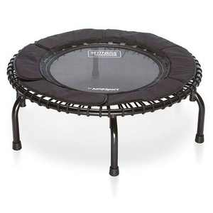 JumpSport 250 Indoor Home Cardio Fitness Safely Cushioned Rebounder Exercise Mini Trampoline with Premium Bungees and Workout DVD, Black
