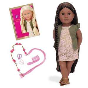 """Our Generation Neveah with Hair Clips & Styling Book 18"""" Hair Grow Doll"""