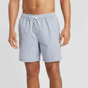 "Men's 7"" Striped Seersucker Elastic Waist Swim Trunks - Goodfellow & Co Light Blue"