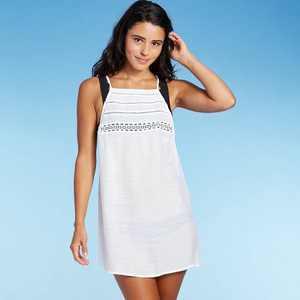 Juniors' Crochet Top Cover Up Dress - Xhilaration White