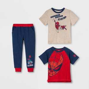 Toddler Boys' 3pk Spider-Man Short Sleeve Top and Bottom Set - Oatmeal Heather