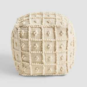 Atwater Boho Ottoman Pouf Ivory - Christopher Knight Home