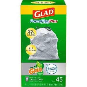 Glad ForceFlexPlus + Tall Kitchen Drawstring Gray Trash Bags - Gain Original with Febreze Freshness - 13 Gallon - 45ct