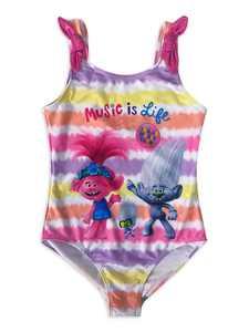 Trolls Girls One-Piece Swimwear, Sizes 4-12