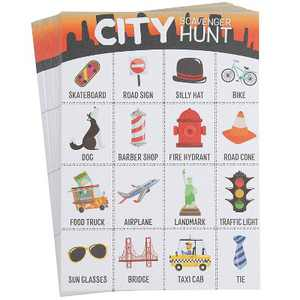 Juvale Scavenger Hunt Game - 50-Pack City Scavenger Hunt Set for Kids, Childrens Outdoor Game Cards, Spot up to 16 Metro Items, Birthday Party Favor