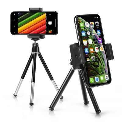 Insten Portable Mini Cell phone Tripod Holder for Smartphone Selfie Universal Galaxy S10+ S10 S10e Note 10 iPhone 11 12 Pro Max mini XS XR 8 7 Plus