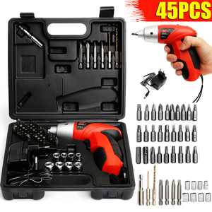 45PCS Cordless Electric Screwdriver, 4.8V Rechargeable Power Screwdriver Set w/ Carrying Case & Battery Indicator, Non-slip Screw Gun Drill Kit for Home Repair, DIY Projects