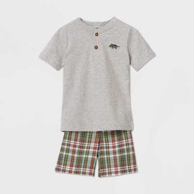 Toddler Boys' 2pc Plaid Top & Bottom Set - Just One You made by carter's Gray