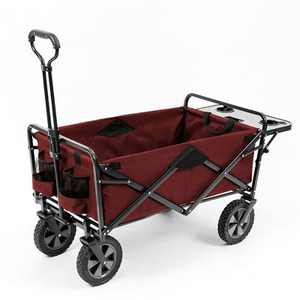 Mac Sports Collapsible Folding Outdoor Garden Utility Wagon w/ Table, Maroon