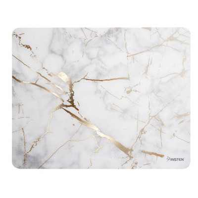 INSTEN Ultra Thin Reflective Anti-Slip Marble Mouse Pad, White/ Gold Marble