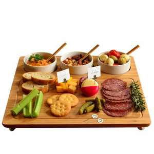 """Picnic at Ascot Bamboo Cheese Board/Charcuterie Platter w/Bowls & Bamboo Spoons & Cheese Markers - 13"""" x 13"""""""