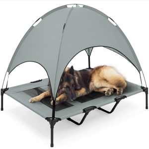 Best Choice Products 48in Elevated Cooling Dog Bed, Outdoor Raised Mesh Pet Cot w/ Removable Canopy, Carrying Bag - Gray