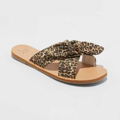 Women's Livia Knotted Bow Slide Sandals - A New Day